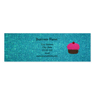 Cute pink glitter cupcake turquoise glitter business cards