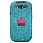 Cute pink glitter cupcake turquoise glitter galaxy s3 cover