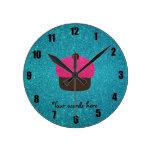 Cute pink glitter cupcake turquoise glitter clocks
