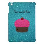 Cute pink glitter cupcake turquoise glitter case for the iPad mini