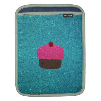 Cute pink glitter cupcake turquoise glitter iPad sleeves