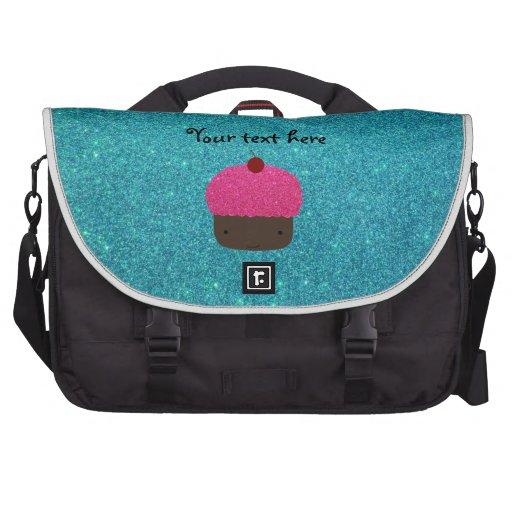 Cute pink glitter cupcake turquoise glitter computer bag