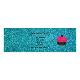 Cute pink glitter cupcake turquoise glitter mini business card