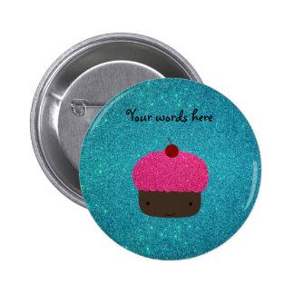 Cute pink glitter cupcake turquoise glitter pinback button