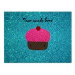Cute pink glitter cupcake turquoise glitter postcard
