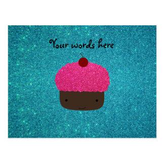 Cute pink glitter cupcake turquoise glitter post card