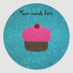 Cute pink glitter cupcake turquoise glitter stickers