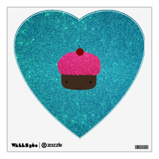 Cute pink glitter cupcake turquoise glitter room graphic