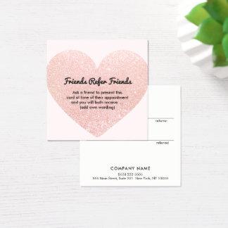 Cute Pink Glitter Heart Customer Referral Card
