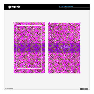 Cute Pink Glitter Letter Initial Girly Pattern Kindle Fire Skin