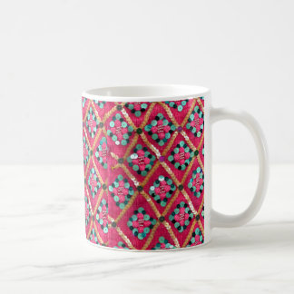 Cute Pink Glitzy Knitted Textile Design Basic White Mug