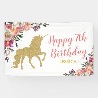Cute Pink Gold Glitter Unicorn Birthday Party Banner
