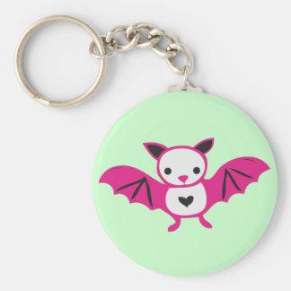 Cute Pink Goth Bat Keychain