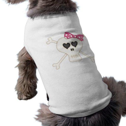 Cute Pink Goth Crossbones Dog Shirt