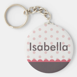 Cute Pink Gray Custom Keychain