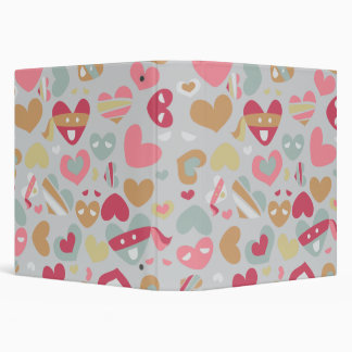 Cute Pink Gray Flesh White Hearts Pattern 3 Ring Binder