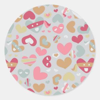 Cute Pink Gray Flesh White Hearts Pattern Classic Round Sticker