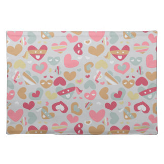 Cute Pink Gray Flesh White Hearts Pattern Cloth Placemat
