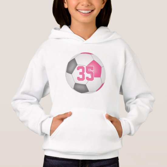 cute pink gray girl's jersey number soccer hoodie