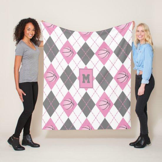 cute pink gray white basketball themed argyle fleece blanket