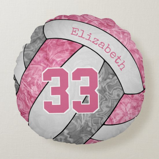 cute pink gray white girls sports gifts volleyball round pillow