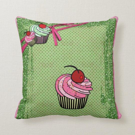 Cute Pink  & Green Cupcakes & Glitter Pillow