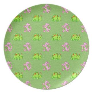 Cute Pink & Green Dinosaurs Plate