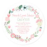 "Cute Pink Green Flowers Wreath Graduation Invite 5.25"" Square Invitation Card"