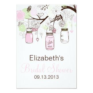 Cute Pink & Green Mason Jars Bridal Shower Invite