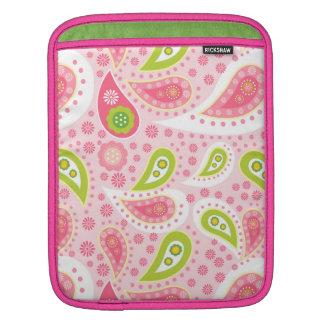 Cute pink green paisley Rickshaw iPad sleeve