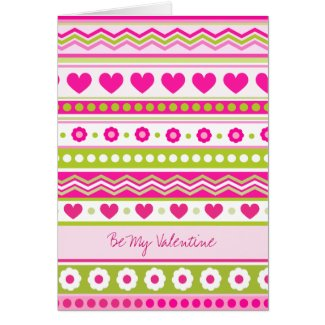 Cute Pink Green Valentine's fabric Greeting Card