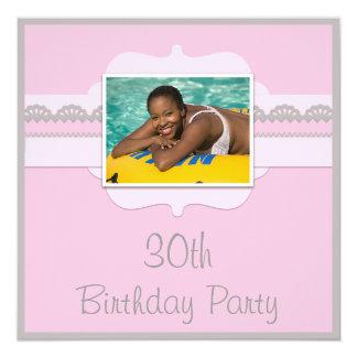 Cute Pink & Grey 30th Birthday Add Your Photo Card