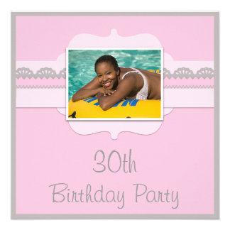 Cute Pink & Grey 30th Birthday Add Your Photo Invite
