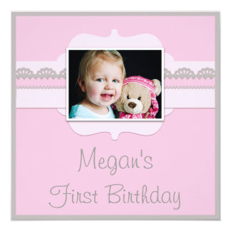 Cute Pink & Grey Baby 1st Birthday Add Your Photo Card