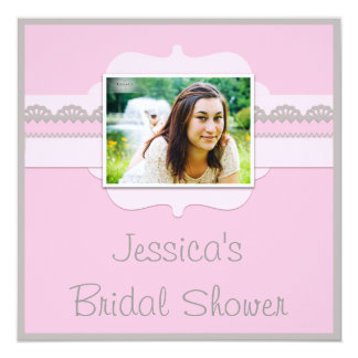 Cute Pink & Grey Bridal Shower Add Your Photo Card