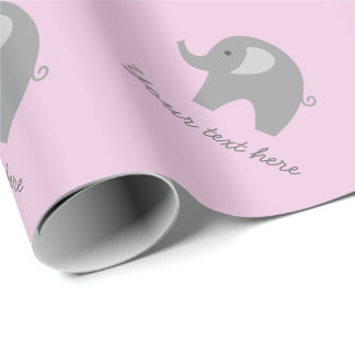 Cute pink grey elephant baby shower wrapping paper
