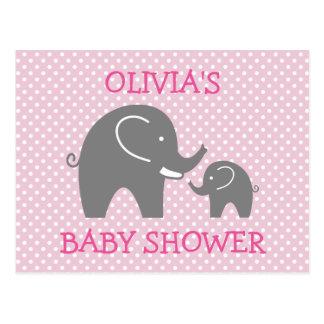 Cute pink grey elephant girl baby shower postcards