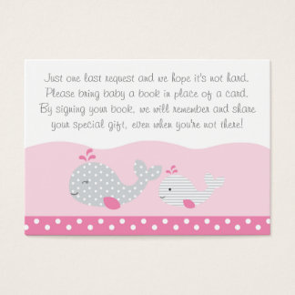Cute Pink & Grey Whale Book Request Cards