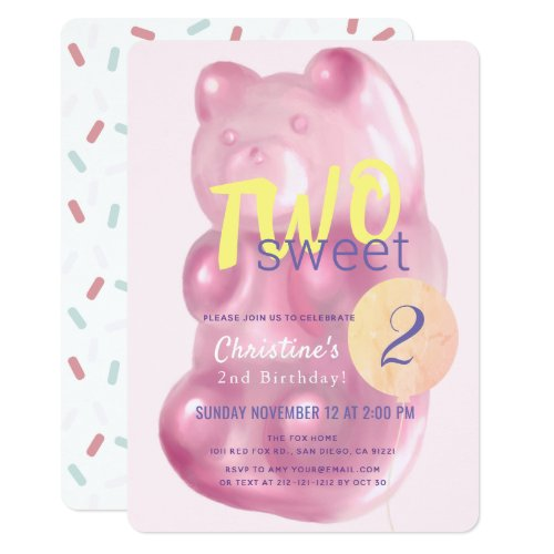 Cute Pink Gummy Bear Two Sweet Girl 2nd Birthday Invitation
