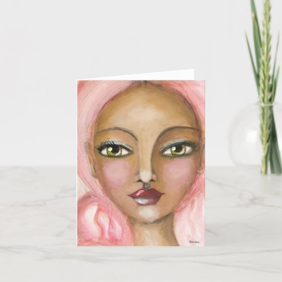 Cute Pink Hair Girl Painting Whimsical Art Note Card