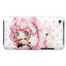 Cute pink-haired anime chibi girl barely there iPod cover