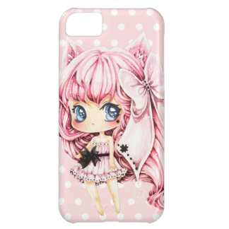 Cute pink-haired anime chibi girl cover for iPhone 5C