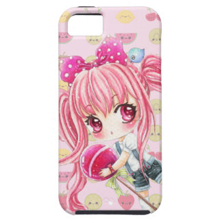 Cute pink haired girl with big lollipop iPhone 5 cases