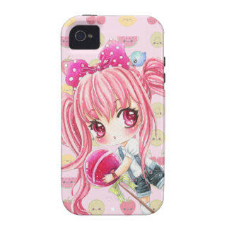 Cute pink haired girl with big lollipop vibe iPhone 4 covers