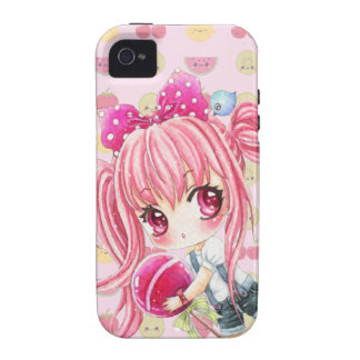Cute pink haired girl with big lollipop Case-Mate iPhone 4 cover