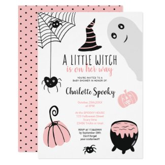 Halloween Themed Baby Shower Invites in Pink and Black