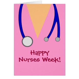 Cute Pink Happy Nurses Week Scrubs and Stethoscope Greeting Card