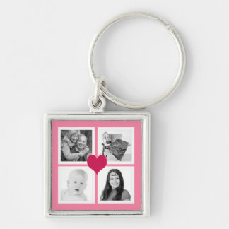 Cute Pink Heart 4 Instagram Photos Collage Keychain