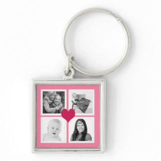 Cute Pink Heart 4 Instagram Photos Collage Keychain