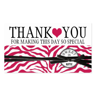 Cute Pink Heart and Zebra Sweet 16 Thank You Double-Sided Standard Business Cards (Pack Of 100)